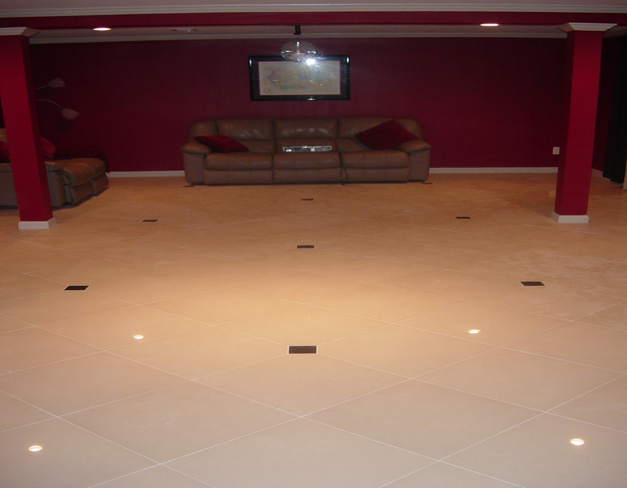 Carpet tiles for basement installation